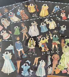 Vintage Paper Dolls And Clothes, Boy And Girls, Beautifully Arranged On 8 Sheets