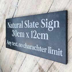 Slate House Sign Door Number Plaque 30x12 Personalised Engraved Any Texthoned