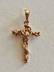 Wow__solid 14k Yellow Gold Diamond Nugget Cross, See Other Gold Jewelry And Coins