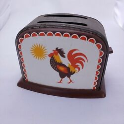 Vintage Tin Rooster Toy Toaster With Working Lever To Raise And Lower Toast