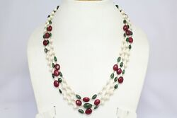 Beautiful 3 Line Natural Oval Ruby Emerald Pearl Stone 18 K Gold Wire Necklace