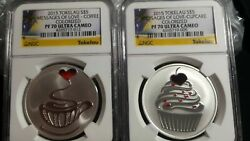 2015 Tokelau Coffee And Cupcake Messages Of Love 2 1oz Silver Coins Ngc Pf70 Uc