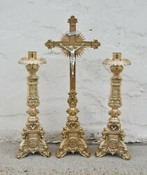 Pair Of Ornate Polished Brass 18 Altar Candlesticks With Altar Cross 152