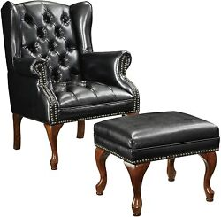 Coaster Home Furnishings Upholstered Accent Chair With Ottoman Grey And Black