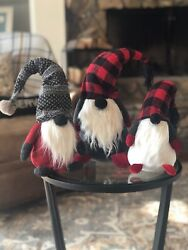 Brand New With Tags Set Of 3 Pottery Barn Plush Holiday Gnomes
