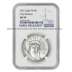 2021 100 Platinum Eagle Ngc Ms70 Er Early Releases American Bullion 1oz Coin