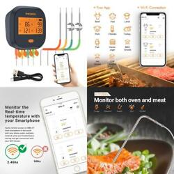 Inkbird Wifi Grill Thermometer Ibbq-4t, Rechargeable Wireless Bbq Thermometer Wi