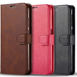 For Samsung Galaxy A12 Case Leather Wallet Pouch + Tempered Glass Protector