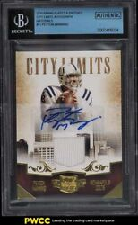 2010 Panini Plates And Patches City Limits Peyton Manning Patch Auto /5 Bgs Auth