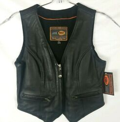 First Classics Motorcycle Women Leather Vest Large NWT $48.89