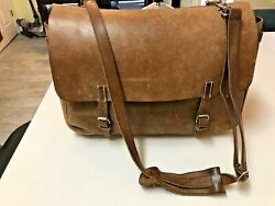 J. Crew Artisan Burnished Leather Briefcase Messenger Large Heavy Leather $125.00