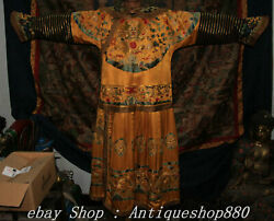 72 Old China Silk Cloth Gold Wire Dynasty Dragons Emperor Robe Imperial Robe