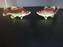 Vintage Vcagco Py Small Mouth Bass Salt And Pepper Shaker Set Japan