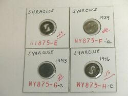 Syracuse New York Lot Of 4 Transit Tokens 1939 1943 1946
