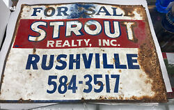 C1979 Vintage Rushville Strout Realty Real Estate Metal Tin Sign Rusty Ad