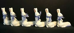 Easter - Bunny/rabbit - Dinner Place Card Holders Set Of 6 Trimmed In Blue
