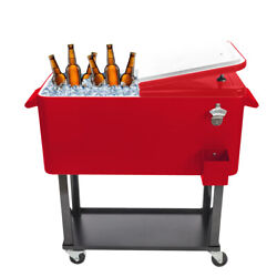 80qt Rolling Cooler Ice Chest Cart For Outdoor Patio Tub Trolley W/bottle Opener