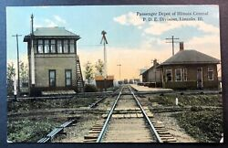 Passenger Depot Of Illinois Central Pde Division Lincoln Illinois Litho
