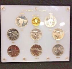 1983 And 1984 U. S. Olympic Dollars Proof Silver And Gold Set In Plastic Holder