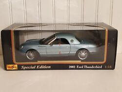 Maisto 2002 Ford Thunderbird Coupe Roadster 118 Scale Diecast Model Car Blue