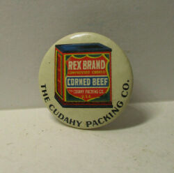 Antique Celluloid Pinback Button Rex Brand Corned Beef Cudahy Packing Co. 2406
