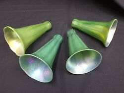Vintage Lundberg Opalescent Fluted Green Lily Glass Lamp Shade Globes Set Of 4