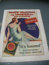 Lucky  Strike Physician Approved Cigarette Ad Orig 1930 Color Print