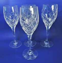 Set Of 4 Mikasa English Garden Etched/cut Crystal Wine / Water Glasses Mint
