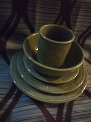 Longaberger Pottery Woven Traditions Sage Green 10 Piece Usa Made
