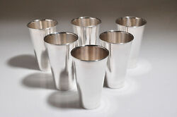 Vintage Set Of 6 R. Lopez Sterling Silver Mint Julep Cups Tall Tumblers