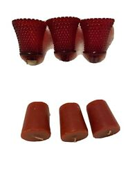 3 Home Interior Red Diamond Votive Cups Homco And 3 Candles