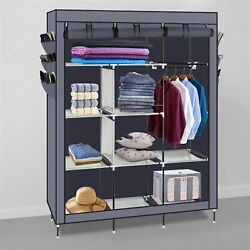 69quot; Portable Organizer Closet Armoire Clothes Storage Shoe Rack Shelves Fabric