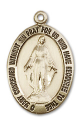 Bliss Our Lady Of Miraculous 1 5/8 Inch 14kt Gold Oval Medal