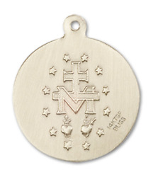 Bliss Our Lady Of Miraculous 7/8 X 3/4 Inch 14kt Gold Round Medal