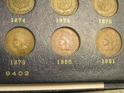 Starter Set Of Indian Head Cents 1879-1909-p31 Coins     B-4