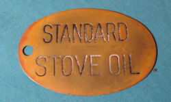 Antique Metal Brass Tag Sign Standard Stove Oil - 3.5 Inches  2455