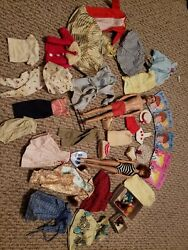 Vintage Barbie And Ken Doll And Clothes 1960's Lot
