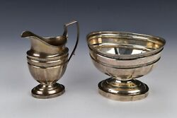 Early American Coin Silver Creamer And Sugar Bowl By Samuel Williamson 1794