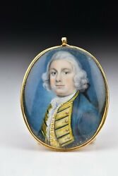 18th Century English Miniature Portrait Painting Of Military Officer Gold Frame