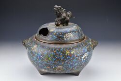 Large Signed Japanese Cloisonne And Bronze Censer With Foo Dog 19th Century