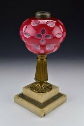Boston Sandwich Glass Cranberry And White Double Cut Overlay Lamp 19th Century 3