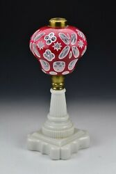 19th Century Boston Sandwich Glass Cranberry And White Double Cut Overlay Lamp 1