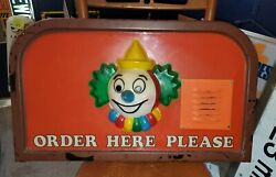 Jack In The Box Drive Thru Order Menu Cover Clown 70and039s Fast Food Restaurant Sign