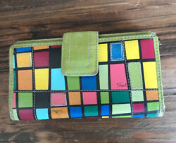 Fossil Leather Multi Color Block Wallet Snap Closure Green $14.00