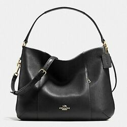 Coach 35809 Isabelle Pebbled Leather Hobo Cross Body Tote Purse in Black $95.95
