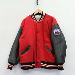 Vtg Nhl Western Conference Delong Leather Wool Bomber Jacket 2xl 90s Made Usa