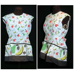 Vintage 60's Full Smock Cotton Apron Apple, Pear And Yellow Watermelon Fruit Print