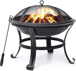Fire Pit 22and039and039 Fire Pits Outdoor Wood Burning Steel Bbq Grill Firepit Bowl With
