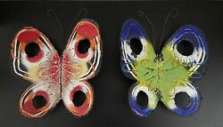 1960and039s Curtis Jere Signed Enameled Pair Of Butterflies