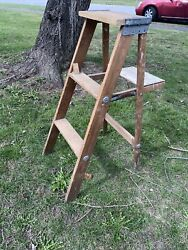 Vintage Wooden 3 Step Folding Stool Plant Stand, Country Farmhouse